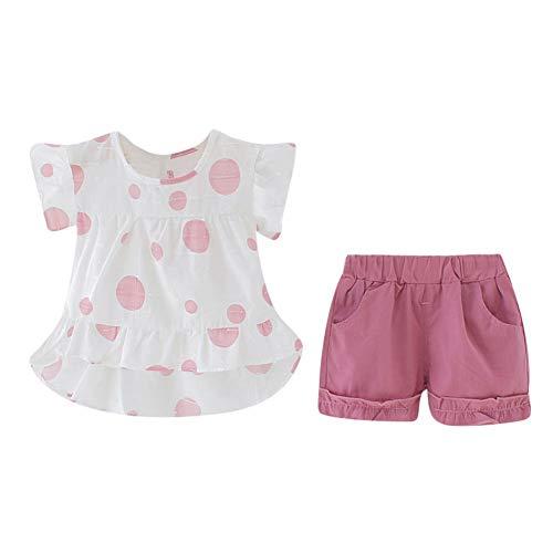 Neugeborenes Kleinkind Baby Mädchen Sommer Outfit Dot gedruckt Rüschen Shirt Top und Kurze Hose 2 Stück Kleidung Set -
