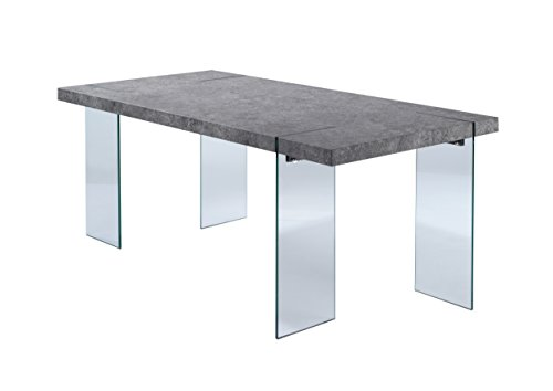 Cavadore 88686 Tisch Nova / Moderner Esstisch in Beton-Optik mit Glasfüßen / Resistent gegen Schmutz / 190 x 95 x 75 cm (L x B x H)