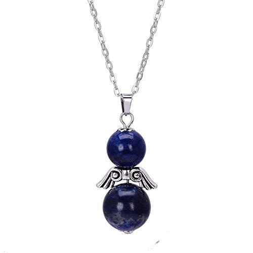 XZZZBXL Damen Halskette,Doppelzimmer Mit Natürlichen Stein Perlen Engel Flügel Blau Lila Kristall Puppe Halskette Heilung Frauen Schmuck Zubehör Party Geschenk