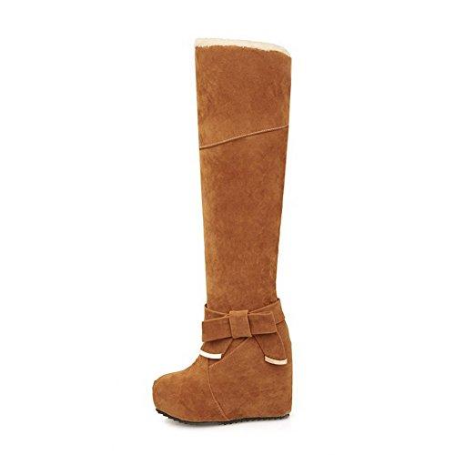 VogueZone009 Donna Punta Tonda Tacco Alto Alta Altezza Puro Stivali con Cappio Giallo