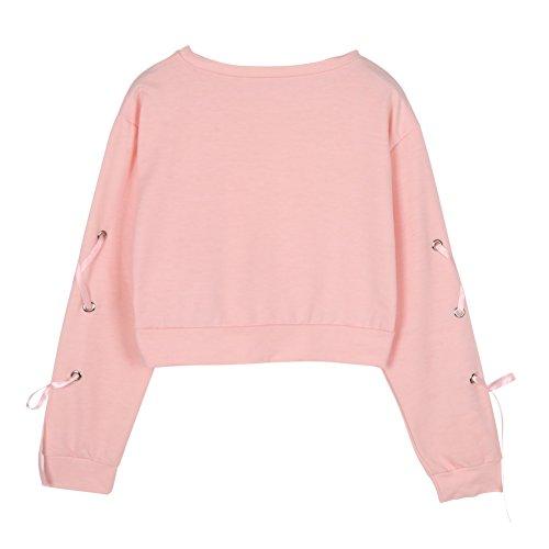 Yalatan Women Autumn Loose Tie Sleeve Lace Up Crop Hoodie Female Sweatshirt Pink pink