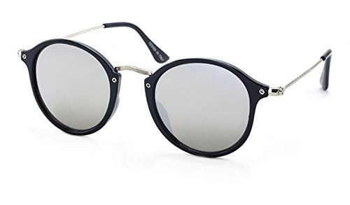 Stacle UV Protected Retro Round Unisex Sunglasses (Black Frame|Silver Mirrored...