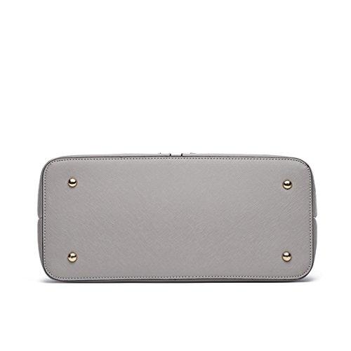 LeahWard Damen Große Taschen 3 Fächertaschen für Frauen Tragetaschen für Schule 00250 (BLAU/MARINE) HELLGRAU