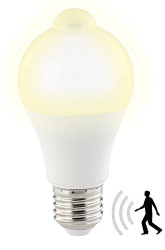 Luminea Bewegungsmelder Lampe: LED-Lampe, PIR-Sensor, 12 W, E27, warmweiß, 3000 K, 1.055 Lumen (Glühlampe mit Bewegungsmelder)