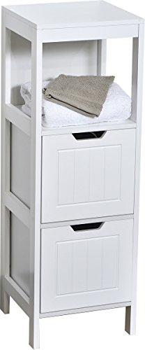 Mueble columna de baño - 2 cajones y 1 nicho - Estilo moderno - Color BLANCO