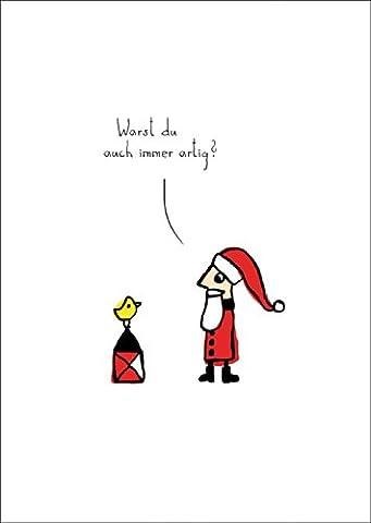 Lustige Weihnachtskarte mit Weihnachtsmann/ Nikolaus: Warst Du auch immer artig? • auch zum direkt Versenden mit ihrem persönlichen Text als Einleger.