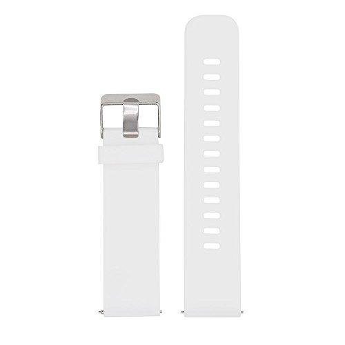Lamshaw Quick Release Silikon Ersatz Uhrenbänder 18mm, 20mm, 22mm und Wahl von 5 Farben (Weiß, 20mm) (Weiß Uhrenarmbänder)