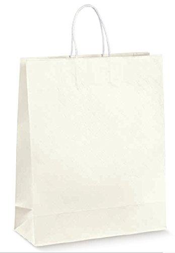 Eleganter Shopper weiß Griff Kordel Made in Italy Größe cm 35x 13x 43 -