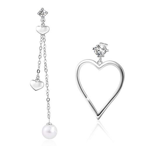 Pearlove orecchini pendenti perle in argento sterling 925, orecchini lunghi asimmetrici a forma di cuore per donna, regalo di gioielli di moda per moglie fidanzata