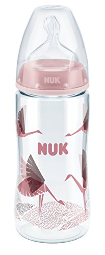 NUK 10216182 First Choice Plus PA-Flasche, 300 ml, mit Silikon-Trinksauger, Größe 6-18 Monate, M, rot