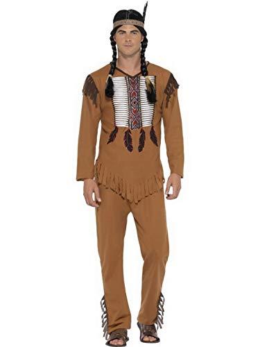 costumebakery - Herren Männer Ureinwohner Indianer Kostüm mit Oberteil, Hose und Kopfschmuck, perfekt für Karneval, Fasching und Fastnacht, XL, ()