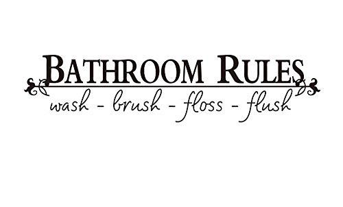 Badezimmer Regeln Aufkleber Waschbürste Floss Flush Wand Kunst Zitat abnehmbare Toilette Zeichen Vinyl Home Kinderzimmer Dekor Aufkleber (Floß Blume)