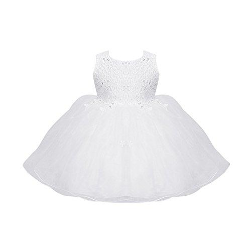 Blumen Mädchen Weiße Spitze Hochzeits Kleid Baby Fotografie Prinzessin Kleid Rock, Weib, 12-18 Monate (Größe Weiße Blumen-mädchen-kleider 16)