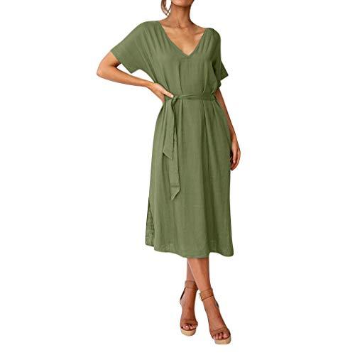 FeiBeauty Damen Leinenkleid für den Sommer Boho Einfarbig Kurzarm V-Ausschnitt Casual Kleid Lose Strandkleid Mit Gürtel S-XL -