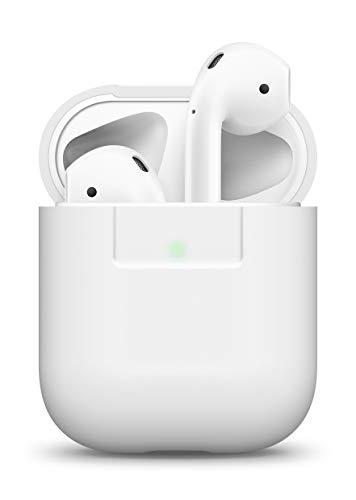 elago Custodia in Silicone Compatiblile con Apple AirPods 1 & 2 (LED anteriore Visibile) - [Funziona la Ricarica Wireless] [Inserimento Perfetto] - Bianco