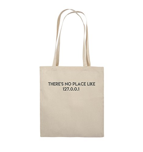Comedy Bags - THERE'S NO PLACE LIKE 127.0.0.1 - Jutebeutel - lange Henkel - 38x42cm - Farbe: Schwarz / Silber Natural / Grau