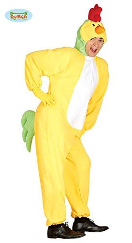 Huhn Kostüm für Herren Karneval Fasching Tier Henne Ei Hühnchen Gelb Gr. M/L, Größe:L