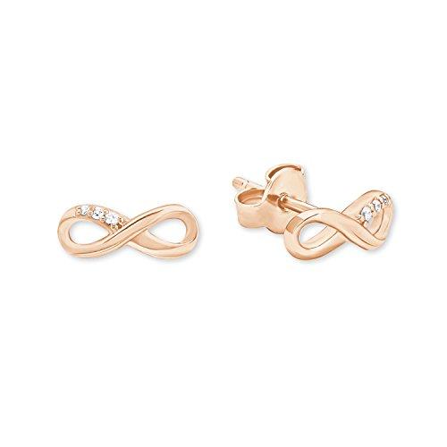 s.Oliver Damen-Ohrstecker So Pure Infinity Unendlichkeitszeichen 925 Sterling Silber rosévergoldet Zirkonia weiß