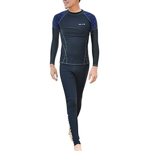 GWELL Herren Jungen 2-teilige Badeanzug Rash Guard UV Schutz Schwimmshirt Badeshorts Badehose Schwimmanzug Swimsuit Wetsuit Surfanzug Set-5 (Langarm + Langhose, Dunkelblau) 2XL