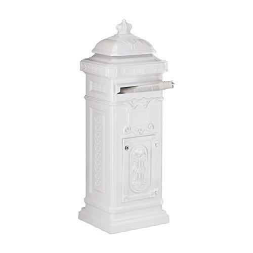 Relaxdays Standbriefkasten Antik HBT: 101 x 34,5 x 31 cm nostalgischer Säulenbriefkasten aus rostfreiem Aluminium englischer Briefkasten Postkasten in britischem Design mit Posthorn, weiß