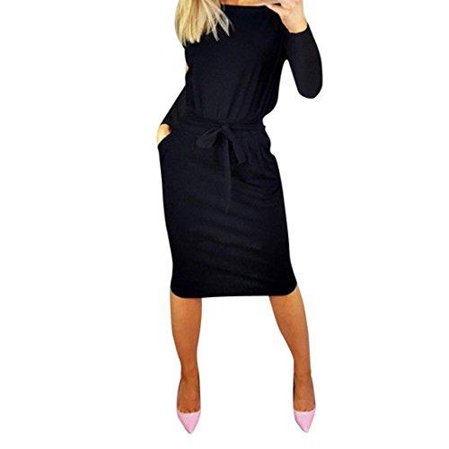 OSYARD Heißer Verkauf Neuheit Damen Solide Lässig Sommerkleider Langarm Abendkleid, Party Cold Shoulder Minikleid mit Tasche