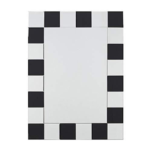 Miroirs De Mur Noir Et Blanc De Salle De Bains Fixé Au Mur De Vanité De Salle De Bains De Vanité Carré De Salle De Bains (Color : Blanc, Size : 60x80cm)