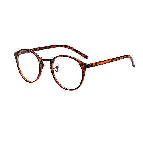 Dorical Damen Brille, Frauen Mode Unisex Klassisch Metall Rahmen Spiegel Gerundet Gläser Sale(B)