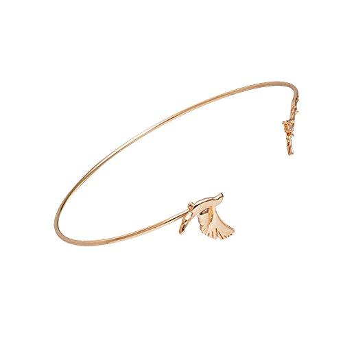 Sharplace Frauen Mädchen Armreif Vogel Blatt Deko Asymmetrisches Design Dünne Armband Armspange - Gold (Armreifen Gold Armbänder Dünne)