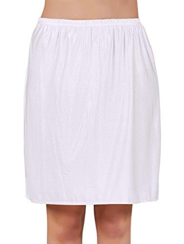 VEDATS Damen Unterrock Halbrock Unterkleid Jupon Knielang Schwarz Weiß Hautfarben S M L XL (L,...