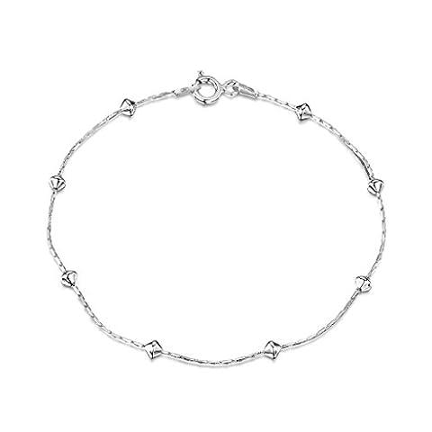 Amberta 925 Sterlingsilber Armkette - Schlangenkette mit Kügelchen Armband - 1 mm Breite - Verschiedene (Diamante Aperte Croce Ciondolo)