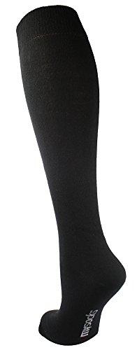 Mysocks® Unisex Knie Hohe lange Socken schwarz (Hoch Knie)