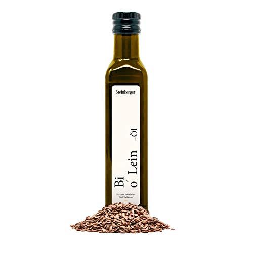 Premium BIO Leinöl von Steinberger| 100% rein & kaltgepresst I Geschmacksneutrales Leinöl aus nachhaltigem Anbau | 250 ml Glasflaschen | Hoher Gehalt an gesunden Omega-3-Fettsäuren