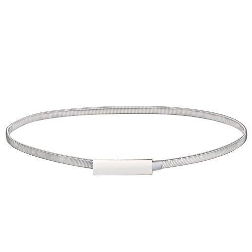 Babeyond Damen Metall dekorativen Gürtel dünnen Gürtel elastischen Taille Strap Stretchy Gürtel für Kleider (Style-1-silver)
