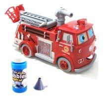 Camion de pompier à piles qui projette des bulles et avance tout seul- Change de direction tout seul dès détection d'un obstacle