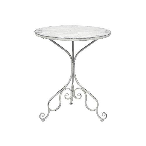 milanari Eisentisch Marseille groß Ø 65 cm Höhe: 75 cm Eisentisch Beistelltisch Gartentisch Outdoor Tisch Cafe Tisch französischer Stil romantischer Stil Shabby Chic Vintage Farbe...