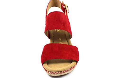 Gabor Comfort Sport, Sandalias Con Correa En El Tobillo Rojo Para Mujer