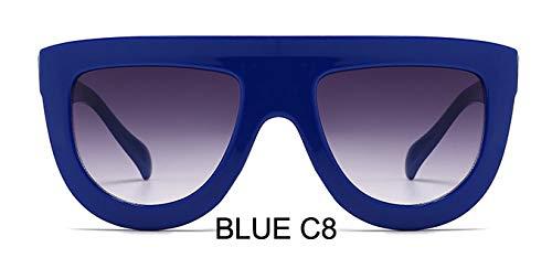 LKVNHP Kunststoff Rote Sonnenbrille Frauen Gradient Lens Uv400 Sonnenbrille Rahmen Shades Marke Damen Brille Unisex OculosWTYJ058 Blau