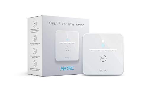 Aeotec Smart Boost Timer Switch, Z-Wave Plus S2 con SmartStart Spina Presa a Muro Intelligente, 16 Ampere, Uso Alimentazione Monitor, Batteria Tampone