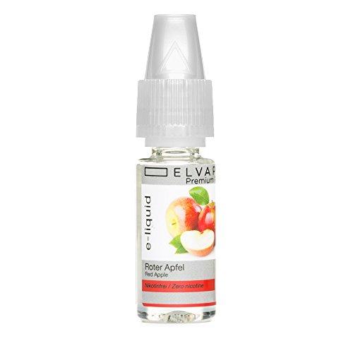 Elvapo Premium Plus E-LIQUIDS mit extra starkem Geschmack Roter Apfel für E-Zigaretten und E-Shishas 0.0 mg (nikotinfrei), 10 ml