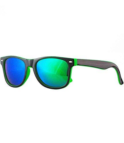 caripe Kinder Sonnenbrille Wayfarer - viele Farben - barna (schwarz-grün - bluegreen verspiegelt-two)