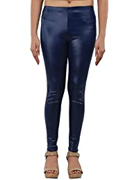 Timbre Women's PU Leather Coated Leggings Blue