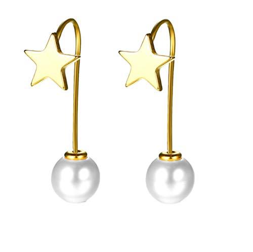 Qiyami Schmuck Ohrringe Damen Süßwasser Perlen Ohrstecker Gold Ohrhänger Muscheln Perle Ohrschmuck Kristall Earrings Tropfen Perlenohrringe Geschenk Ohrklemme (Gold)