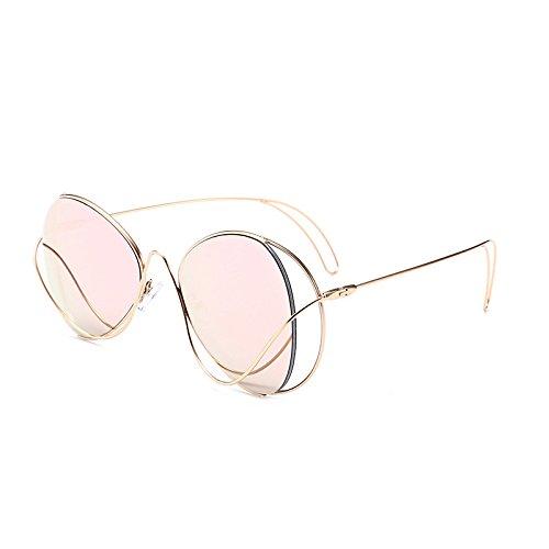 SUNGLASSES Hohle unregelmäßige Sonnenbrille-kreative Farbfilm-Sonnenbrille-Neue Metallsonnenbrille (Farbe : Gold Frame Powder)