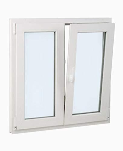 finestra pvc 100 cm x 100 cm   2 battenti   battente inclinabile   elevato isolamento termico e acustico   doppio vetro climalit   comodo   resistente al sole   apertura a destra