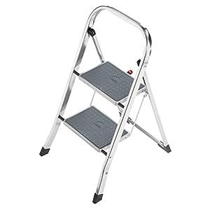 Hailo K60 StandardLine Alu-Klapptritt-Leiter | 2 große Stahl-Stufen mit Anti-Rutsch-Matten belastbar bis 150 kg…