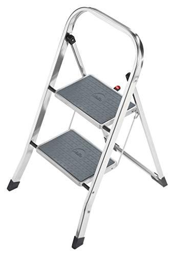Hailo K30 StandardLine Alu-Trittleiter, 2 Stufen, Klappsicherung, besonders leicht, einfach zu verstauen, belastbar bis 150 kg, silber, 4392-801