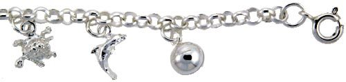 Revoni Sterling Silver Nautical Charm Anklet