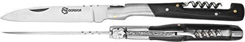 Laguiole 30137 Corsica Artisan 12cm Sommeliere Black Buffalo Bone Handle Camping Messer,Jagdmesser Messer, Fischmesser,Taschenmesser - Bone Handle