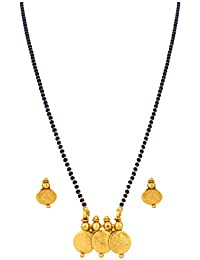 BFC- Traditional Mahalaxmi Coin Designer One Gram Gold Plated Mangalsutra With Black Bead 18 Inches Chain For...