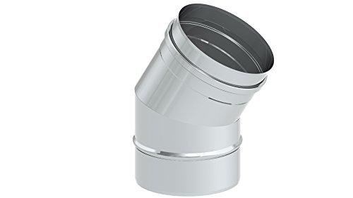 Schornstein - Winkelelement EW einwandig mit 30° Winkel starr, Innendurchmesser 150mm; 0,6mm Wandstärke, Edelstahl -
